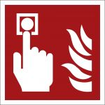 Brandmelder, selbstklebend, Kunststofffolie selbstklebend, EverGlow HI® 150, Brandschutzzeichen ISO 7010, 300 x 300mm,