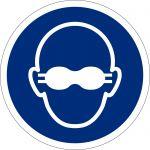 Weitgehend lichtundurchlässigen Augenschutz benutzen, selbstklebend, DIN A4 Bogen mit 88 Stk., Kunststofffolie selbstklebend, Gebostzeichen ISO 7010, Ø 25mm