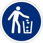 Abfallbehälter benutzen, selbstklebend, DIN A4 Bogen mit 20 Stk., Kunststofffolie selbstklebend, Gebotszeichen ISO 7010, Ø 50mm