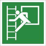 Notausstieg mit Fluchtleiter links, Aluminium, EverGlow HI® 150, Rettungszeichen, ISO 7010, 200 x 200 mm, 150mcd/m2